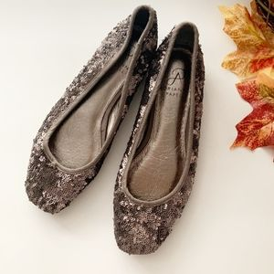 Adrianna Papell • Brown Sequined Ballet Flats 6.5
